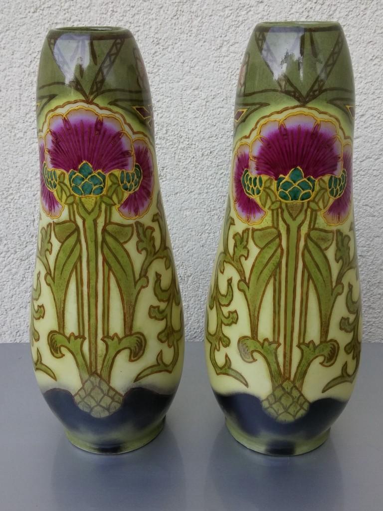 Szecessziós, art nouveau festett, porcelán vázapár