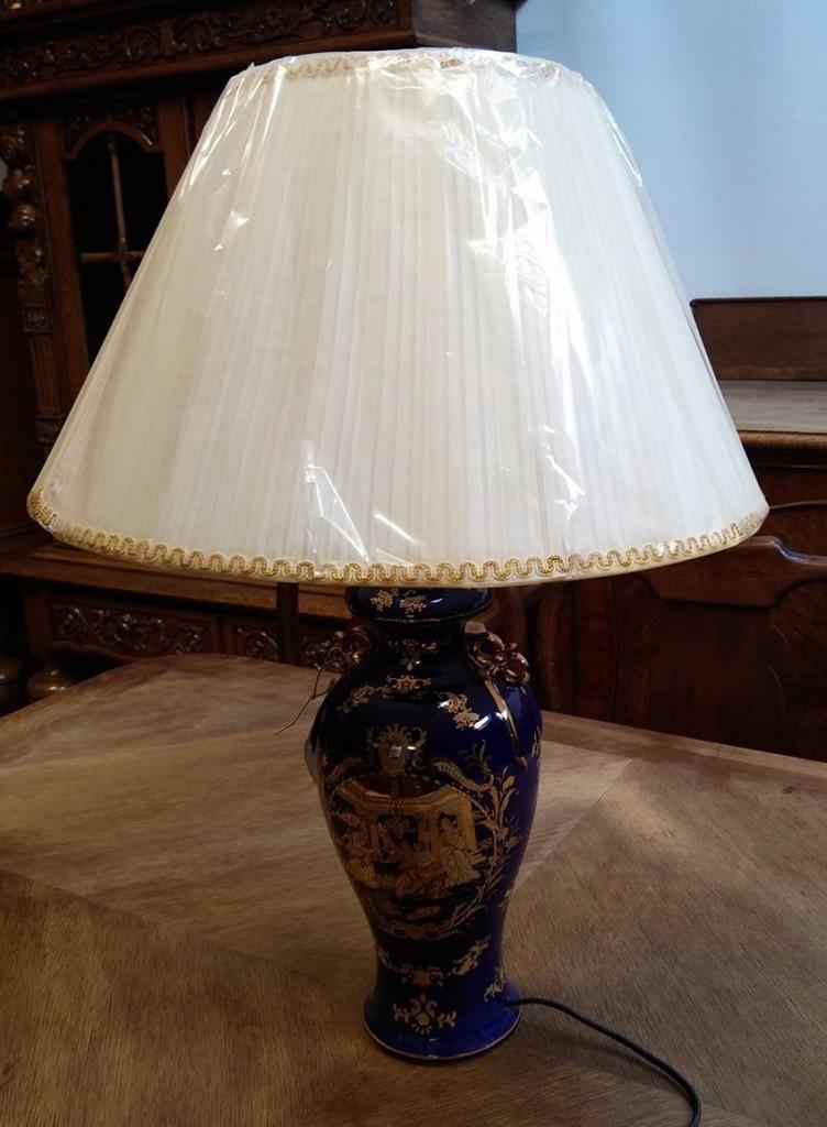 Kobaltkék-arany porcelán lámpa