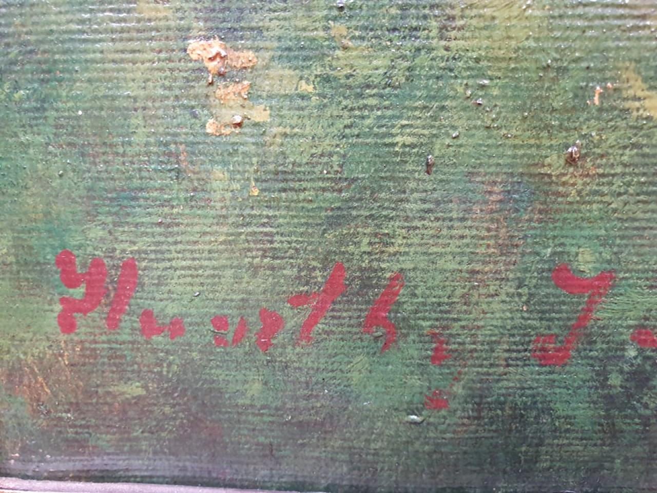 Antik olajfestmény, restaurált blondel keretben