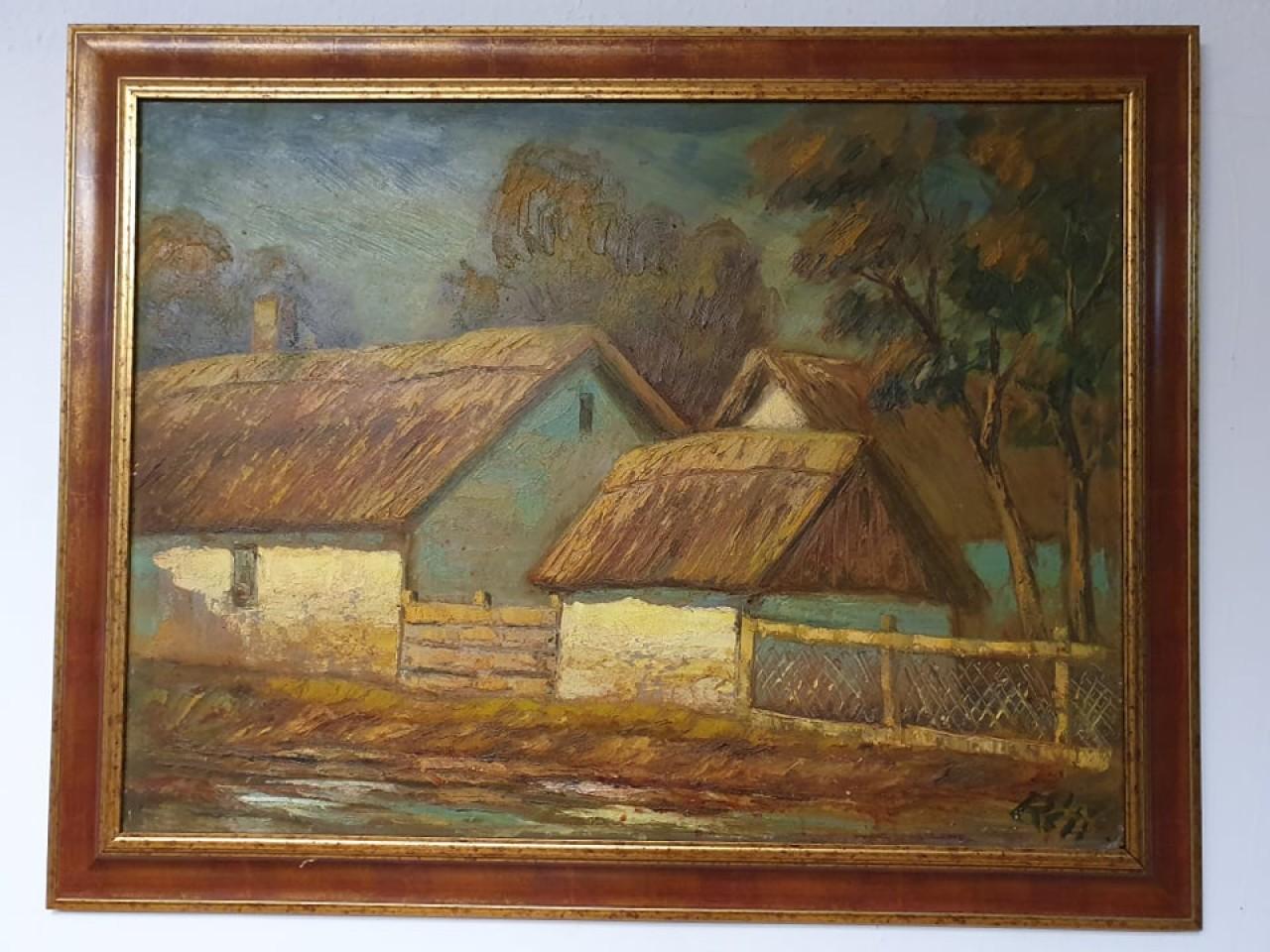 Keretezett olajfestmény Réti Mátyás