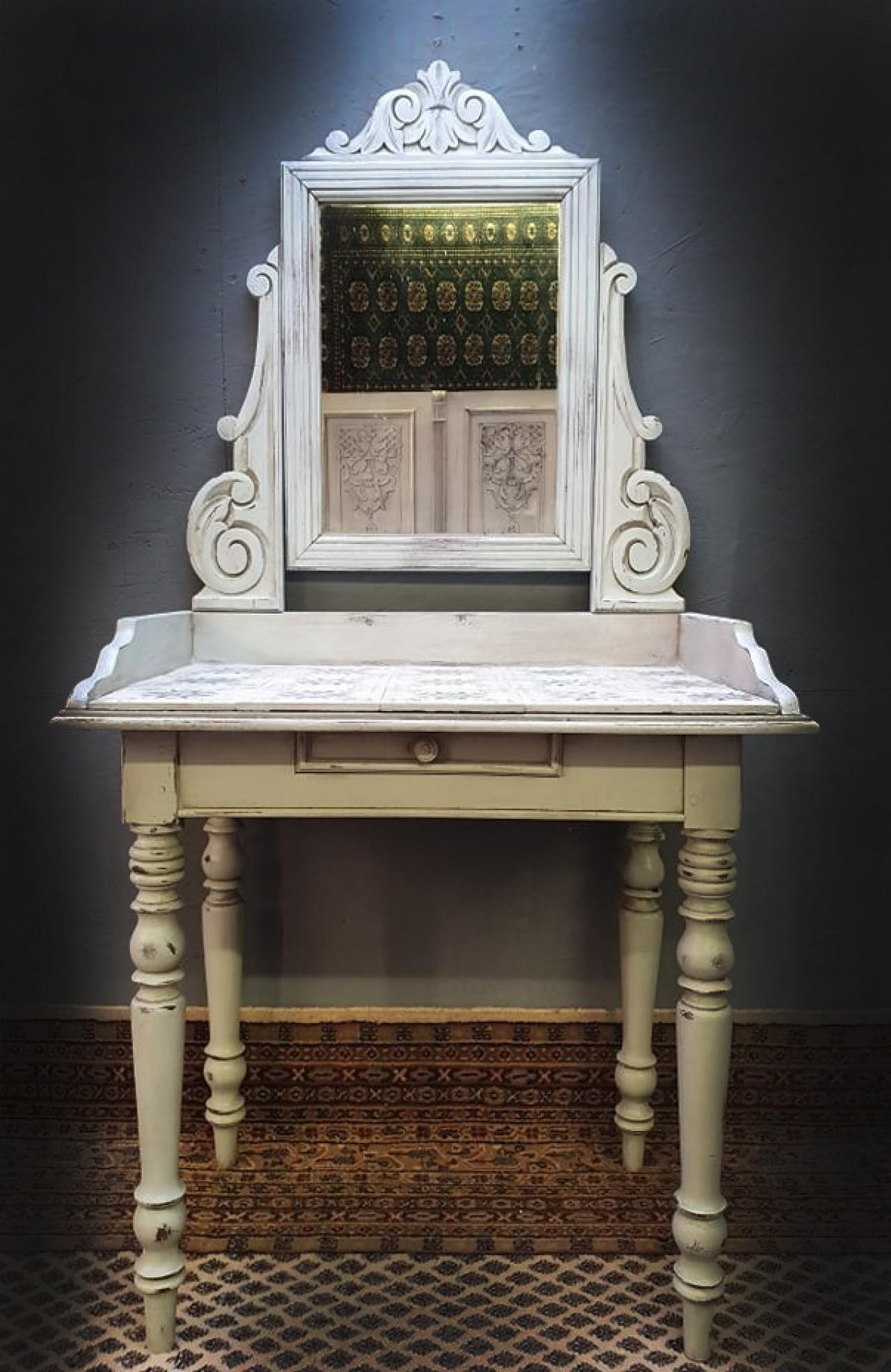 1 fiókos antik shabby chic vintage Provence barokk tükrös asztal