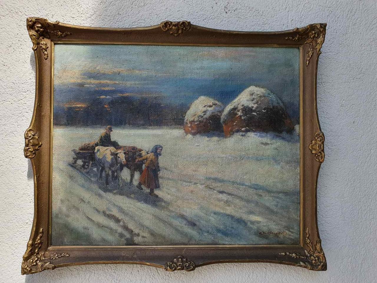 Csókfalvy Raffay Sándor tanyasi életkép olajfestmény keretben