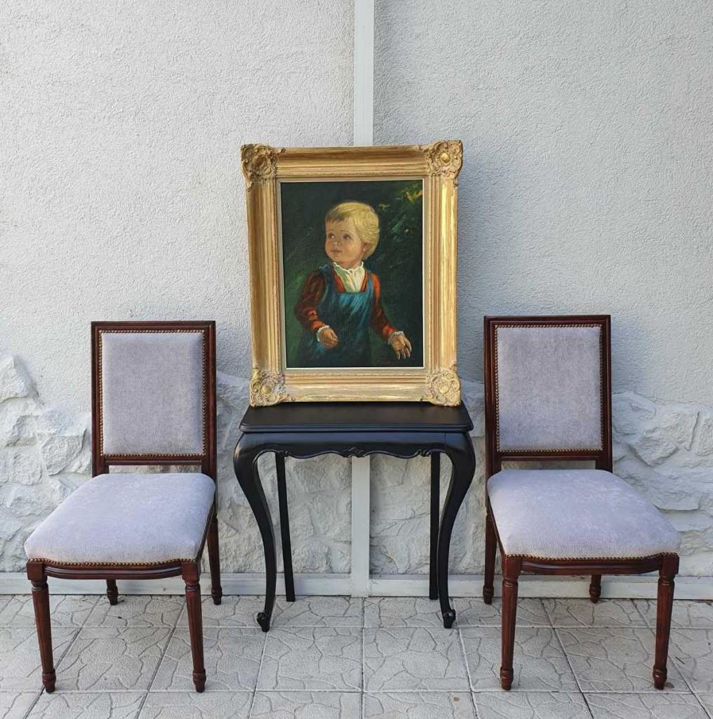 Kárpitozott klasszicista székek párban