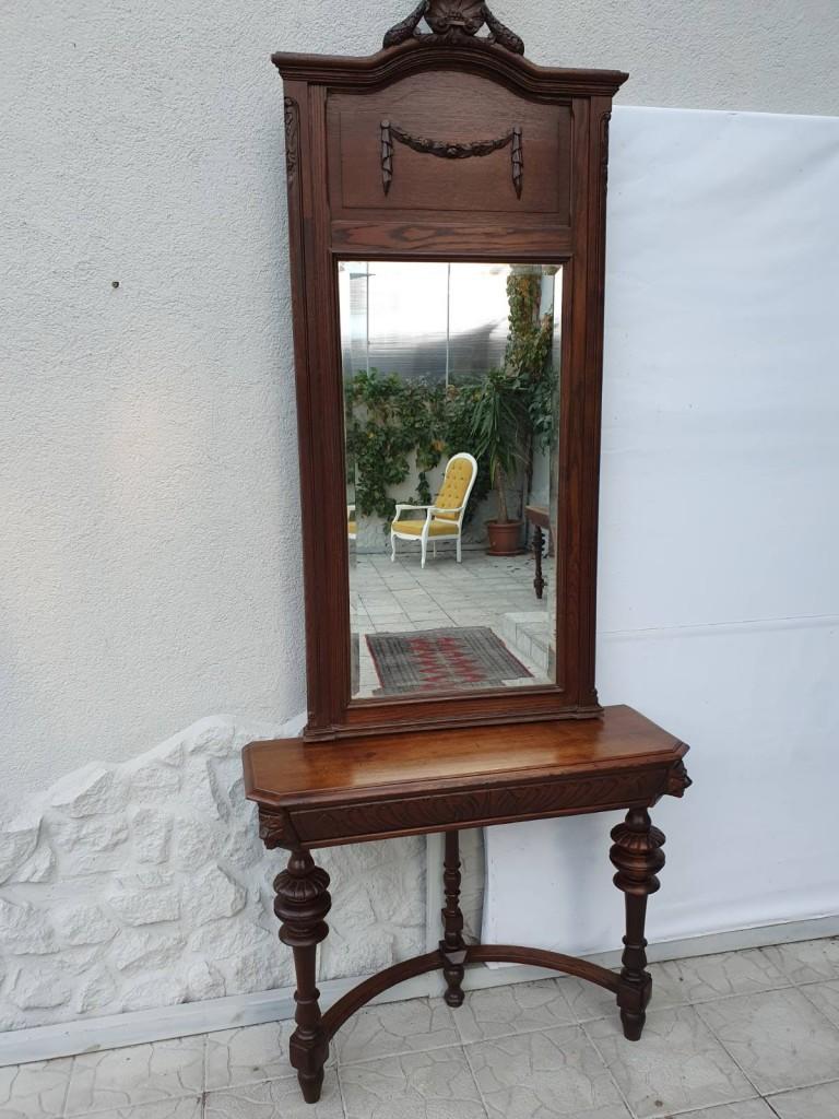 Rusztikus konzolasztal tükörrel, faragott tölgyfából